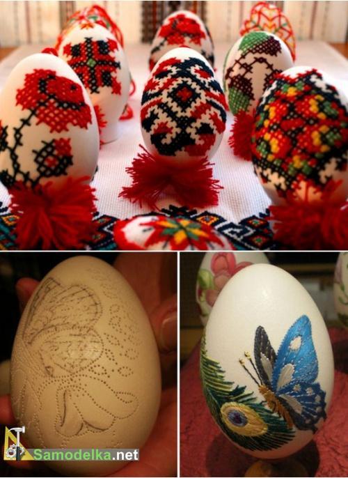вышивка на яйцах узор крестиком и бабочка