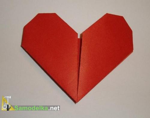 валентинка в шесть сгибов из бумаги