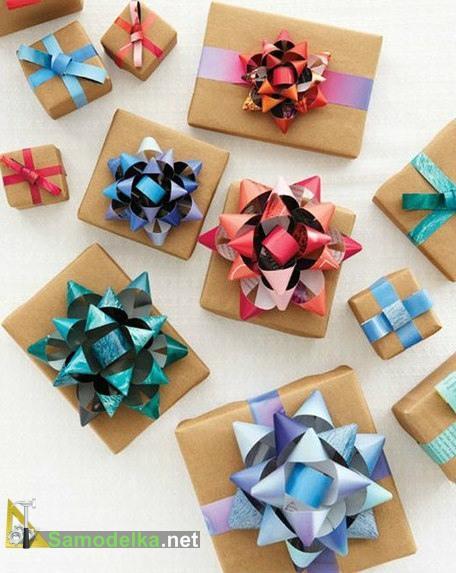 Как сделать бантик на подарок из бумаги