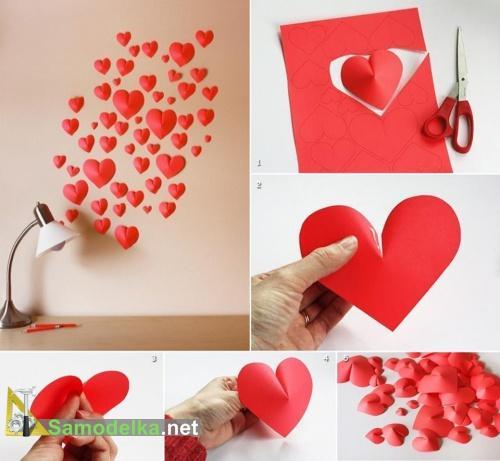 Украшаем стену объемными сердечками к Дню Валентина