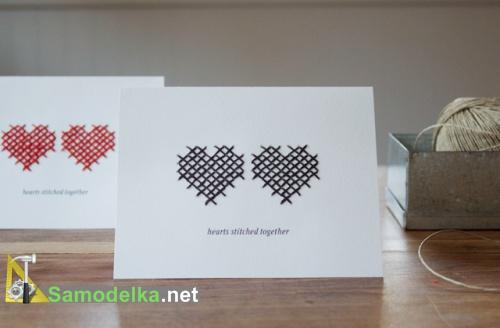 сшитые вместе сердца самодельная открытка