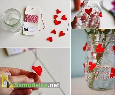 ваза и гирлянда сердечки своими руками