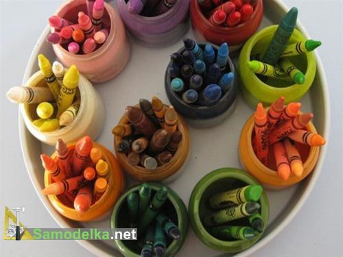 поделки из баночек из под детского питания - пеналы для красок и мелков
