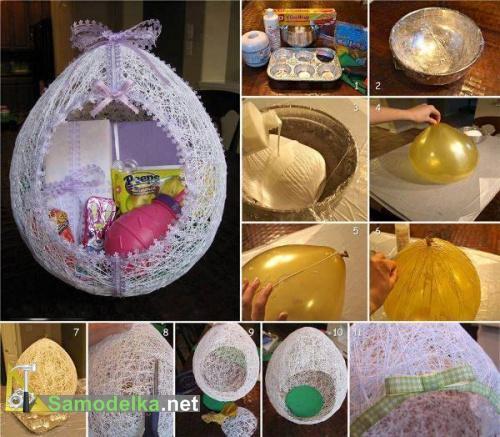 кружевное пасхальное яйцо из ниток