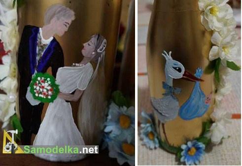 Украшение свадебных бутылок своими руками рисуем