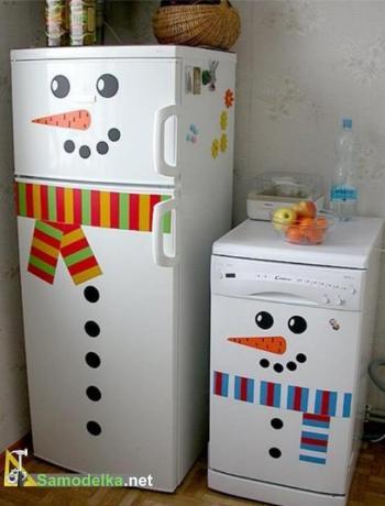 Декорируем холодильник под снеговика к новому году