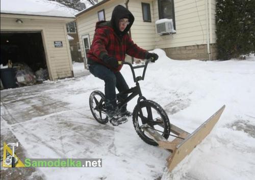 Как сделать снегоуборщик из велосипеда