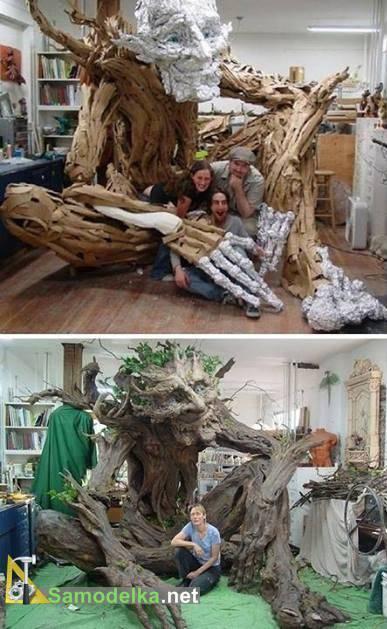самодельное дерево тролль из папье-маше