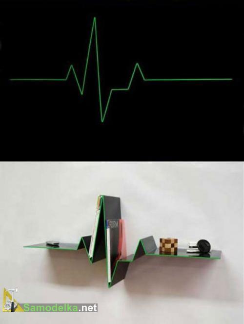 Необычные полки на стену в форме кардиограммы фото