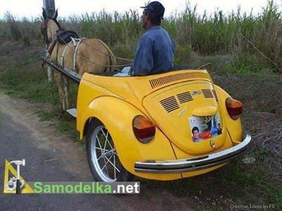 как сделать повозку из половины автомобиля жук