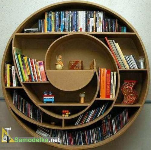 необычная полка круглый книжный шкаф