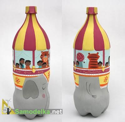 фигурка карусель из пластиковй двухлитровой бутылки