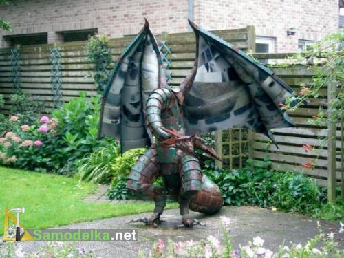 самодельный садовый дракон из металлолома