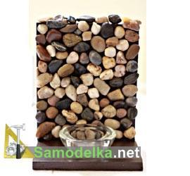 самодельное бра из двух досок и камней