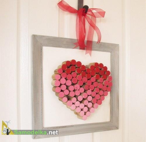 Самодельное валентинка - сердце из пробок