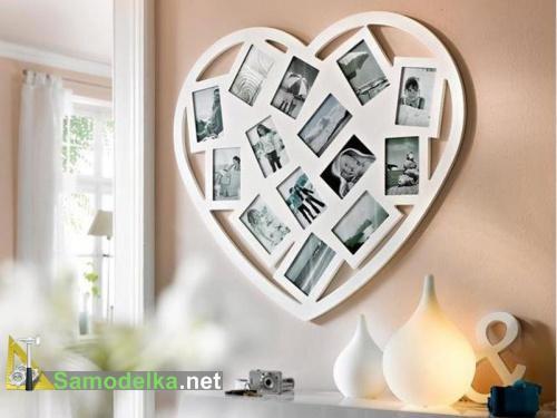 Валентинка в виде рамки для нескольких фото.