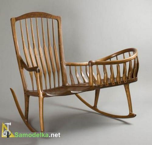необычное кресло качалка с колыбелью