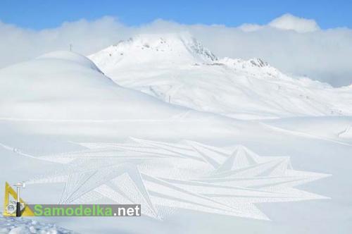 тонкие узоры на снегу созданные Симоном