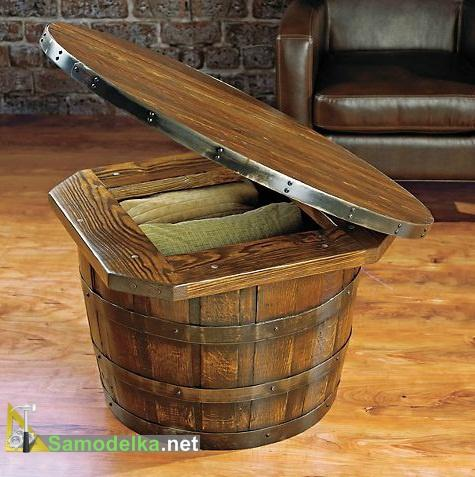 столик и мини бар из деревянной бочки внутренности