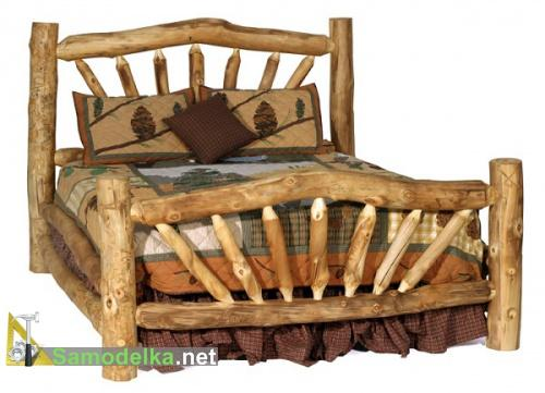 кровать из бревна своими руками фото 1