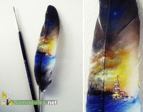 миниатюрная картина на пере