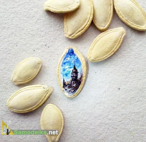 картина на семечке тыквы
