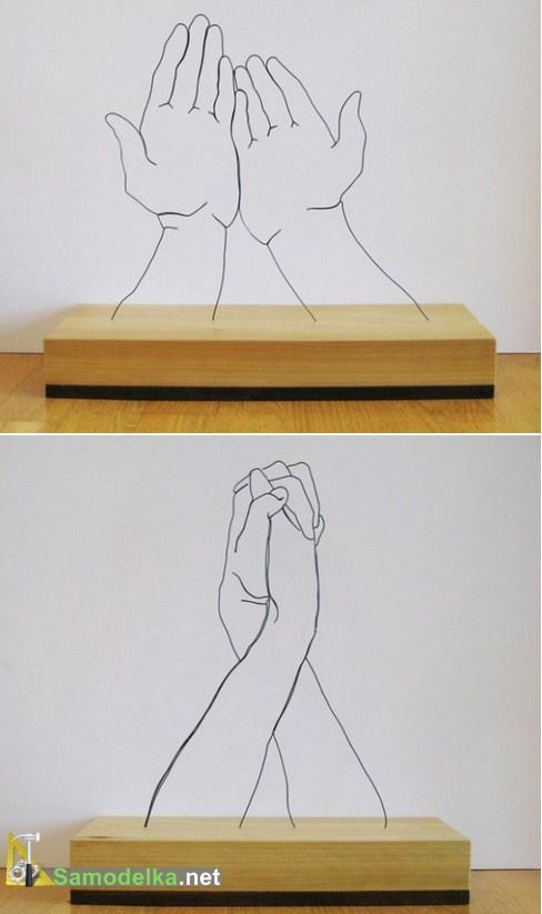 Скульптуры из проволоки - руки