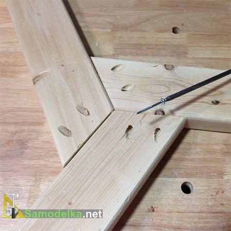 соединение основания стола с помощью кондуктора