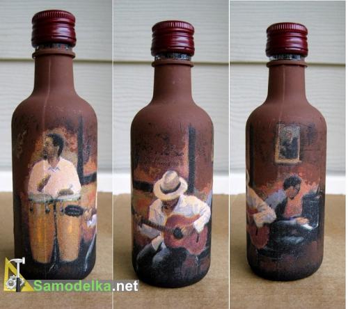 декупаж бутылки Джаз