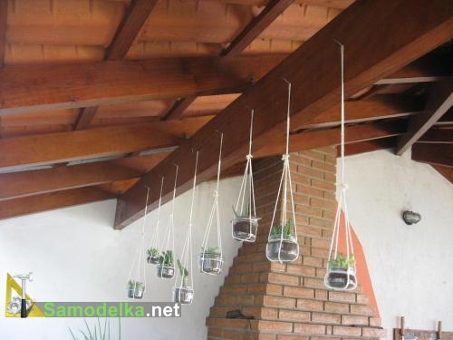 самодельное кашпо из банки веревки и пластикового зажима