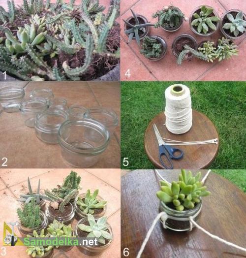 как сделать кашпо из веревки и пластиковых креплений