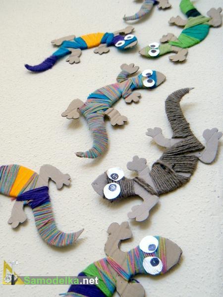самодельные разноцветные хамелеоны из бумаги и шерсти