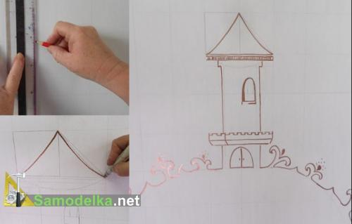 как нарисовать изголовье для кровати