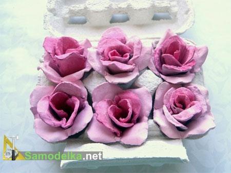 цветы из коробок от яиц