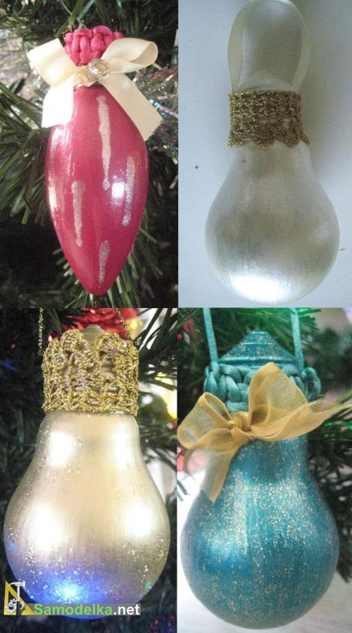Гламурные украшения на елку из старых лампочек