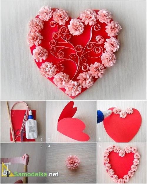 делаем открытку валентинку с бумажными цветами