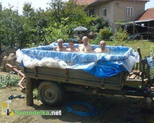 самодельный бассейн из прицепа
