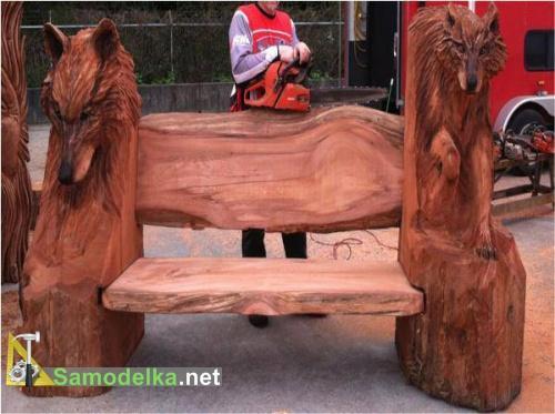 резные скамейки из бревна