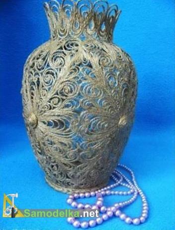 кружевная ваза из веревки