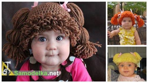 Детская шапочка с косичками