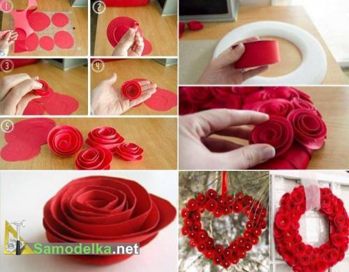 как сделать венок из бумажных роз