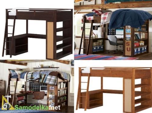 кабинет для подростка наверху кровать внизу рабочий стол