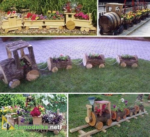 Паровоз для сада своими руками из дерева