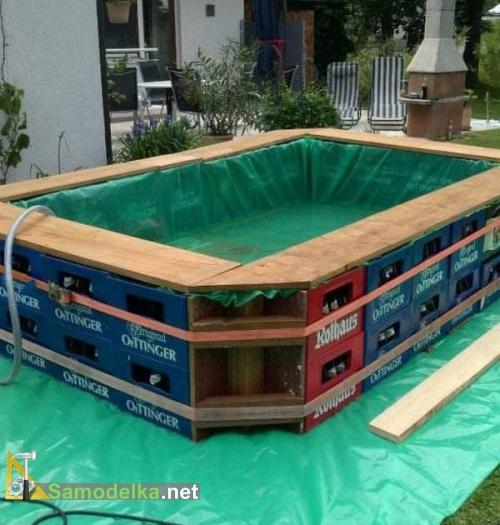 самодельный бассейн на даче из пивных ящиков