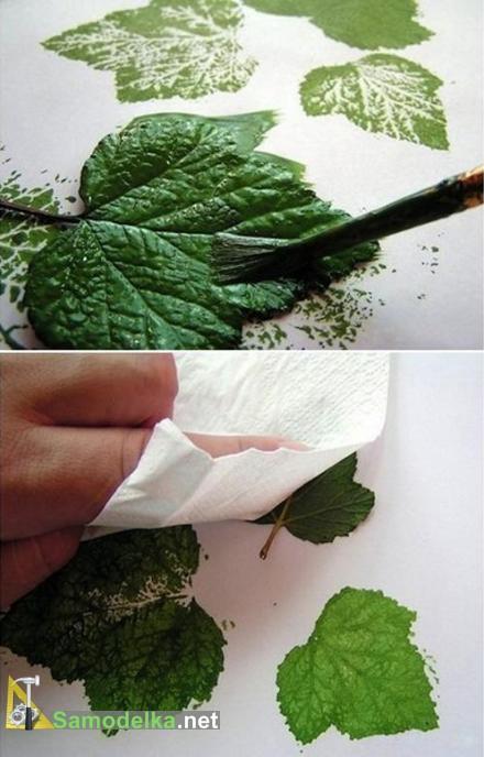 как нарисовать кустарник смородины красим и отпечатываем