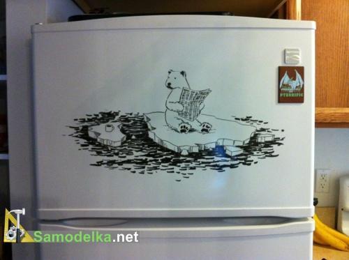 стикер своими руками на холодильник - Читающий Мишка