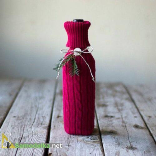 одежда для бутылок - красный свитерок