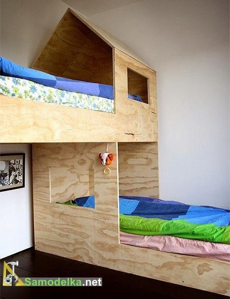 двухэтажная кровать домик из фанеры