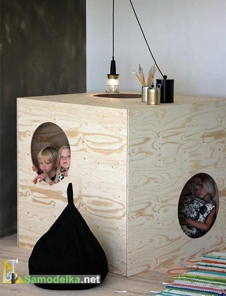 Игровая мебель - кубик  с двумя окнами
