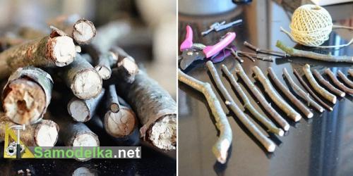ветки - заготовки для настенной елки